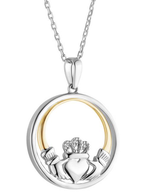 Silver & 10k Gold Diamond Round Claddagh Pendant S46804