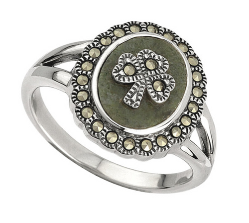 Sterling Silver Marcasite Shamrock Marble Ring S2824