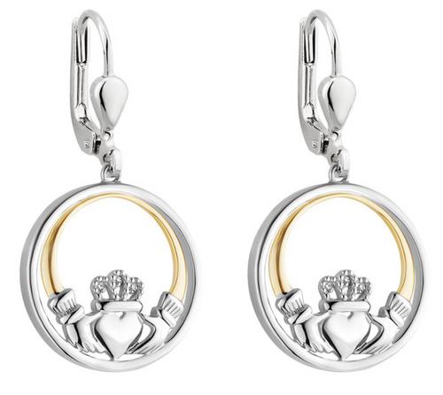 Silver & 10k Gold Diamond Claddagh Circle Earrings S34116