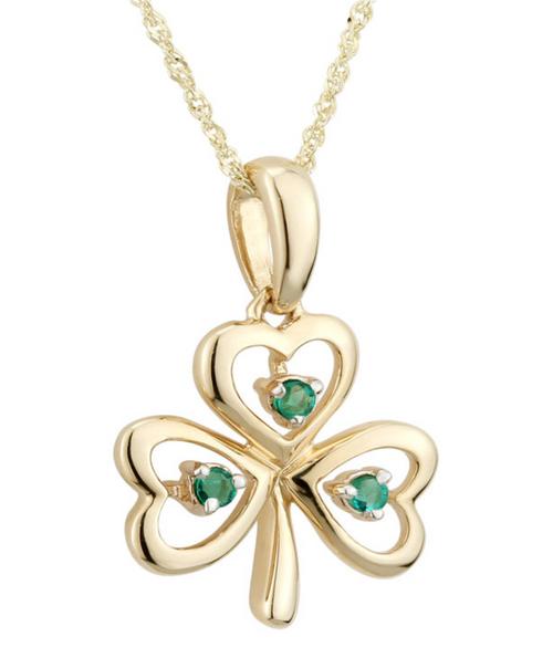 14k Gold Emerald Shamrock Pendant
