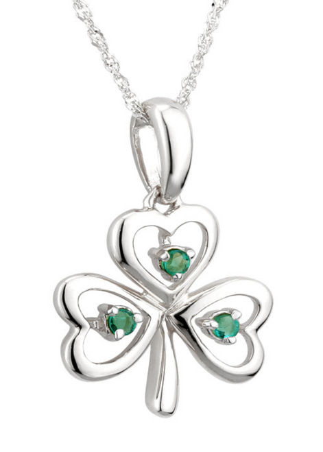14k White Gold & Emerald Shamrock Pendant S45622