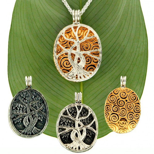 S/sil + 22k Gilded TREE OF LIFE 4-Way Pendant By KEITH JACK