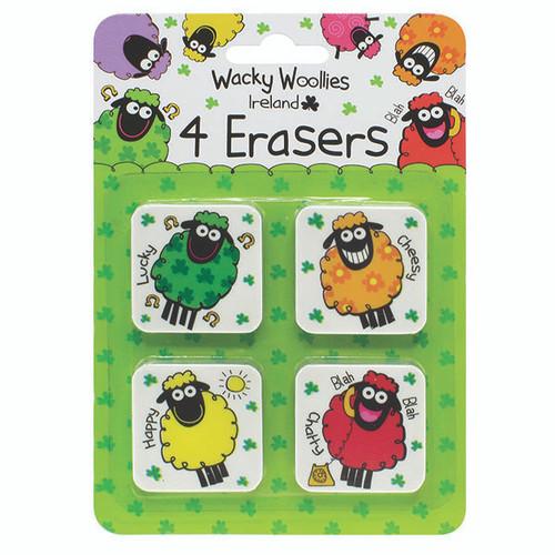 Wacky Woollies Ireland 4 Pack Erasers Shamrock  Gift Co. 3618
