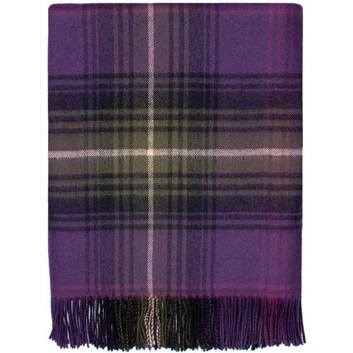 Heather Tartan Lambswool Throw Blanket Made in Scotland