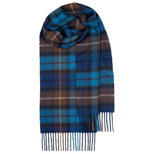 BUCHANAN BLUE TARTAN LAMBSWOOL SCARF Made in Scotland