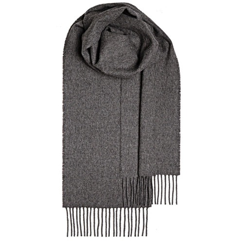 STEEL PLAIN COLORED  LAMBSWOOL SCARF Made in Scotland