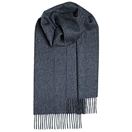 CHARCOAL PLAIN COLORED  LAMBSWOOL SCARF Made in Scotland