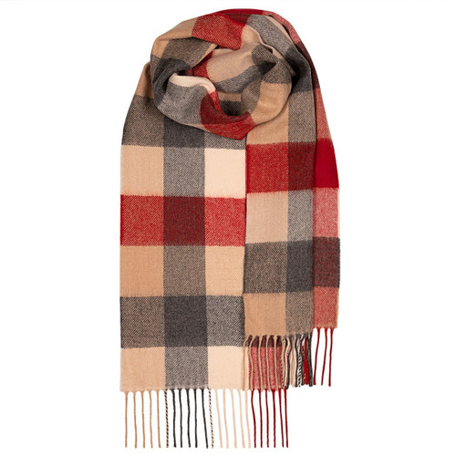RED BUFFALO  LAMBSWOOL SCARF Made in Scotland
