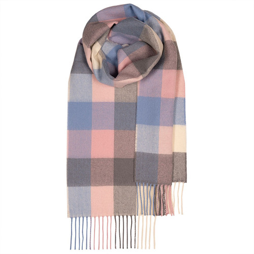BOWHILL SOFT BLOCK  LAMBSWOOL SCARF Made in Scotland
