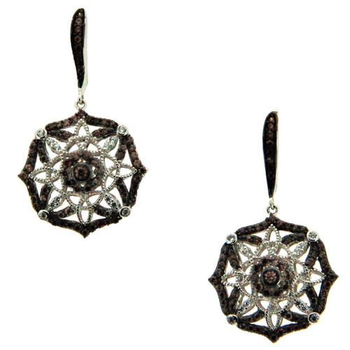 S/sil Rhodium + CZ Night & Day Scalloped Leverback Earrings By Keith Jack
