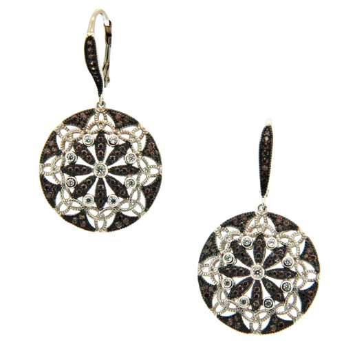 S/S RP and CZ Night and Day Round Leverback Earrings PES1108 KEITH JACK