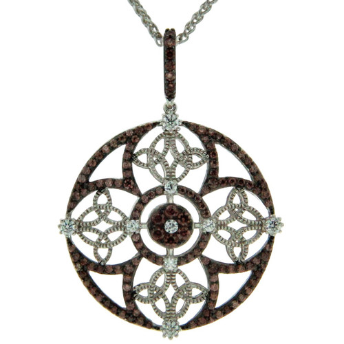 S/S RP and CZ Night and Day Collection Round Pendant PPS1101 KEITH JACK