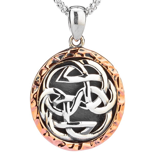 S/sil Oxidized + 10k Rose Lewis Knot - Path of Life Pendant By Keith Jack