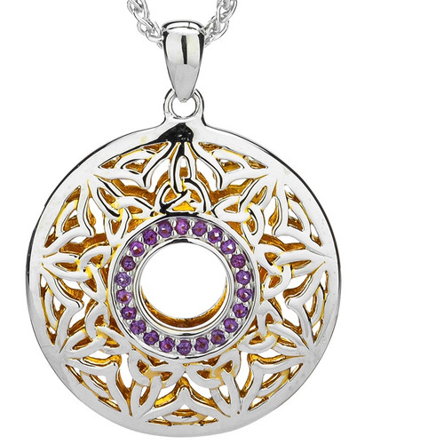 S/sil + 22k Gilded Window to the Soul Amethyst Round Pendant By Keith Jack