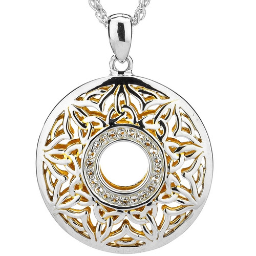 S/sil + 22k Gilded Window to the Soul White Topaz Round Pendant By Keith Jack