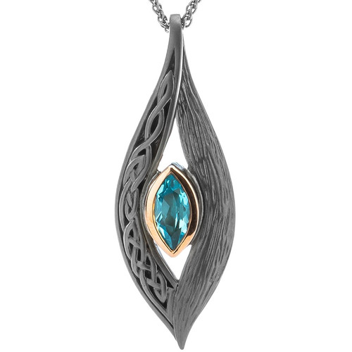 S/S Ruthenium and10k Gold Rose Eternity Knot Sky Blue Topaz Pendant PPX8383-2-BT KEITH JACK