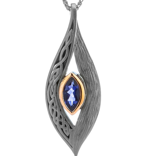 S/S Ruthenium and10k Gold Rose Eternity Knot Iolite Pendant PPX8383-2-IOL KEITH JACK