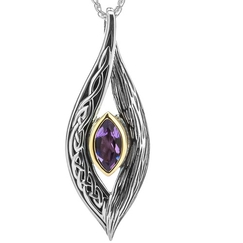 S/sil + 10k Amethyst Eternity Knot Elven Pendant By Keith Jack