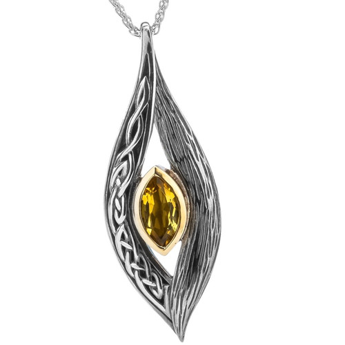 S/sil + 10k Citrine Eternity Knot Elven Pendant By Keith Jack