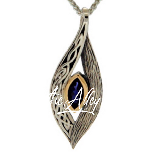 S/sil + 10k Iolite Eternity Knot Elven Pendant By Keith Jack