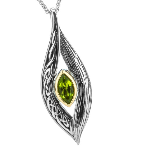 S/sil + 10k Peridot Eternity Knot Elven Pendant By Keith Jack