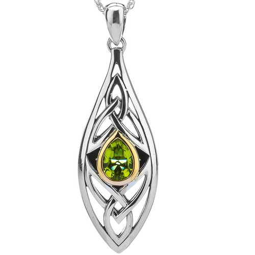 S/sil + 10k Peridot Elven Pendant By Keith Jack