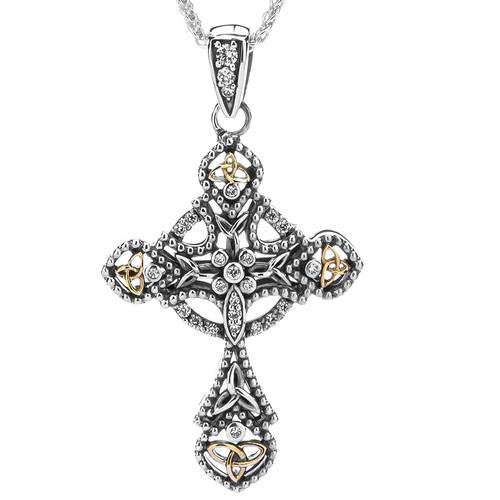 Sterling Silver + 10k Celtic CZ Cross Pendant by KEITH JACK PCRX10251