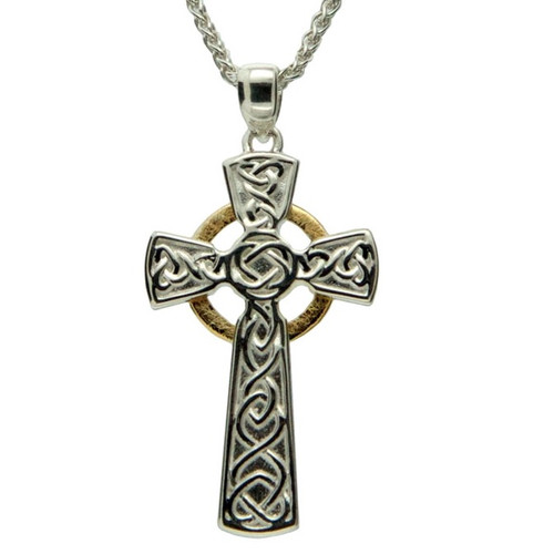 S/sil + 10k Circle Cross Large Pendant By Keith Jack