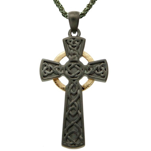 Sterling Silver Ruthenium + 10k Circle Cross Large Pendant by KEITH JACK PCRX3641-2