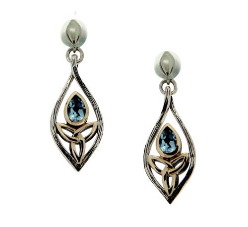 S/sil Oxidized + 10k Blue Topaz Archangel Post Earrings By Keith Jack