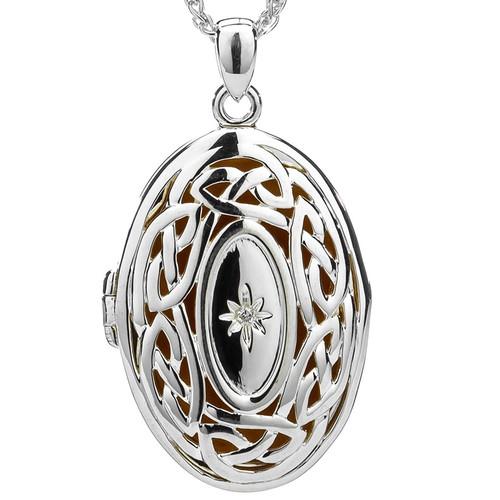 S/sil + 22k Gilded Eternity Knot Diamond Set Large Locket By Keith Jack