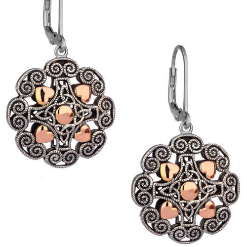 S/S  and 10k  Rose Gold Drop Ashen Rose Leverback Earrings PEX0617 KEITH JACK