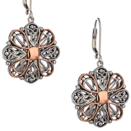 S/sil + 10k Rose Gold Ashen Rose Leverback Earrings By Keith Jack PEX0619