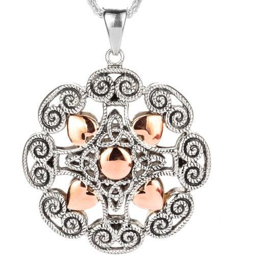 S/sil + 10k Rose Gold Ashen Rose Pendant By Keith Jack