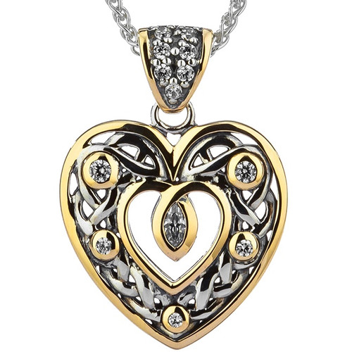 S/sil + 10k CZ Celtic Open Heart Small Pendant By Keith Jack