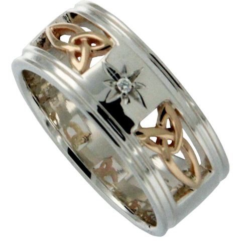 """Sterling Silver and 10k Trinity Inserts Wide and (1.5mm) Diamond """"Kintyre"""" Ring   Sizes 6-13 by KEITH JACK PRX3390"""