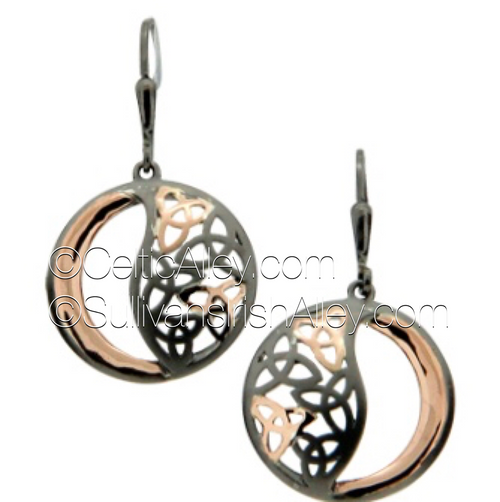 These earrings are part of the Trinity Knot Collection.  Materials: ruthenium Sterling Silver with 10k Rose Gold  Dimensions (h x w):  3/4″  x  7/8″  Details: leverback  Wear these earrings to represent the three entities of Maiden, Mother and Wise Woman.  Pair this piece with the PPX8340-2 Trinity Knot necklace to complete the set.