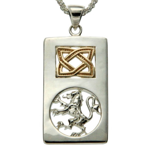 S/sil + 10k Lion Rampant Rectangle Pendant By Keith Jack