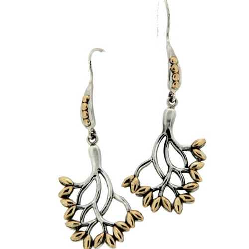 S/sil + 18k TREE OF LIFE Hook Earrings By KEITH JACK