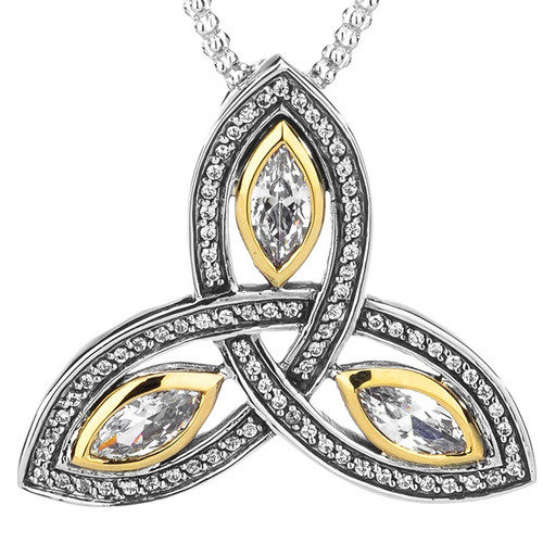 TRINITY PENDANT LARGE in Sterling Silver and 10k Yellow Gold and White Cubic Zirconia By Keith Jack PPX6620