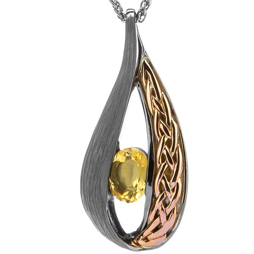 S/S Ruthenium and10k Gold Rose Eternity Knot ELVEN Citrine Teardrop Pendant PPX8388-2-CIT KEITH JACK