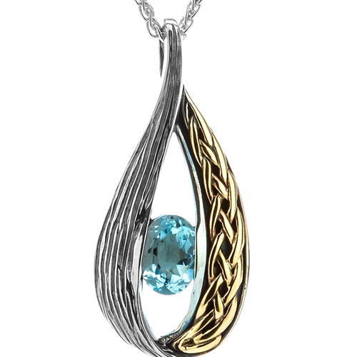S/sil + 10k Sky Blue Topaz Celtic Weave ELVEN Teardrop Pendant By Keith Jack