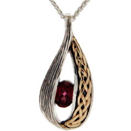 S/sil + 10k Rhodolite Celtic Weave Teardrop Pendant By Keith Jack