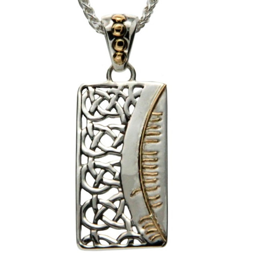 S/sil + 18k Ogham Pendant Clann = Family By Keith Jack