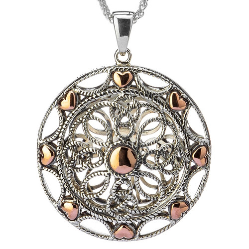 S/S  and 10k Rose Gold Ashen Rose Pendant PPX0618 KEITH JACK