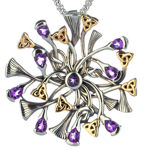 S/sil + 10k Rhapsody with 3mm Pear Shaped Amethyst Small Pendant By Keith Jack