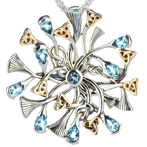 S/sil + 10k Rhapsody with 3mm Pear Shaped Sky Blue Topaz Small Pendant By Keith Jack