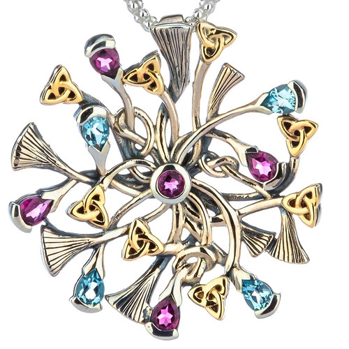 S/sil + 10k Rhapsody with 3mm Pear Shaped Sky Blue Topaz & Rhodolite Small Pendant By Keith Jack