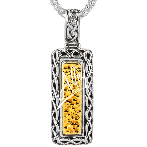 Sterling Silver Oxidized and 18k Dragon Weave Bar Pendant By Keith Jack