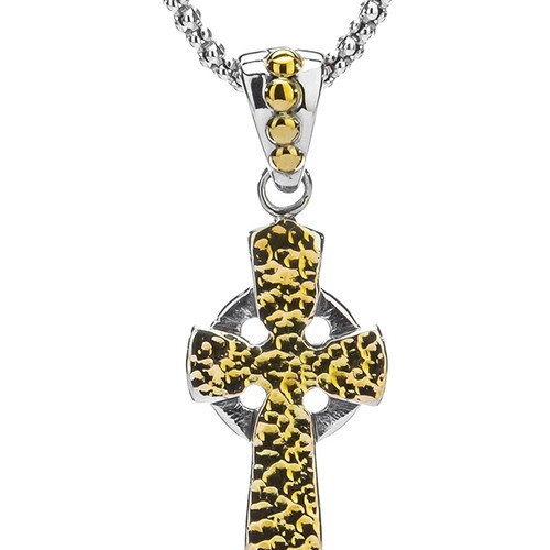 Sterling Silver + 10k CZ Cross Pendant by KEITH JACK PCRX10250